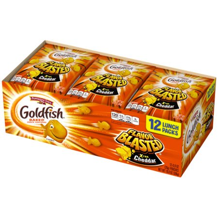 Pepperidge Farm Goldfish Flavor Blasted Xtra Cheddar Crackers, 10.8 oz. Multi-pack Tray, 12-count 0.9 oz. Single-Serve Snack
