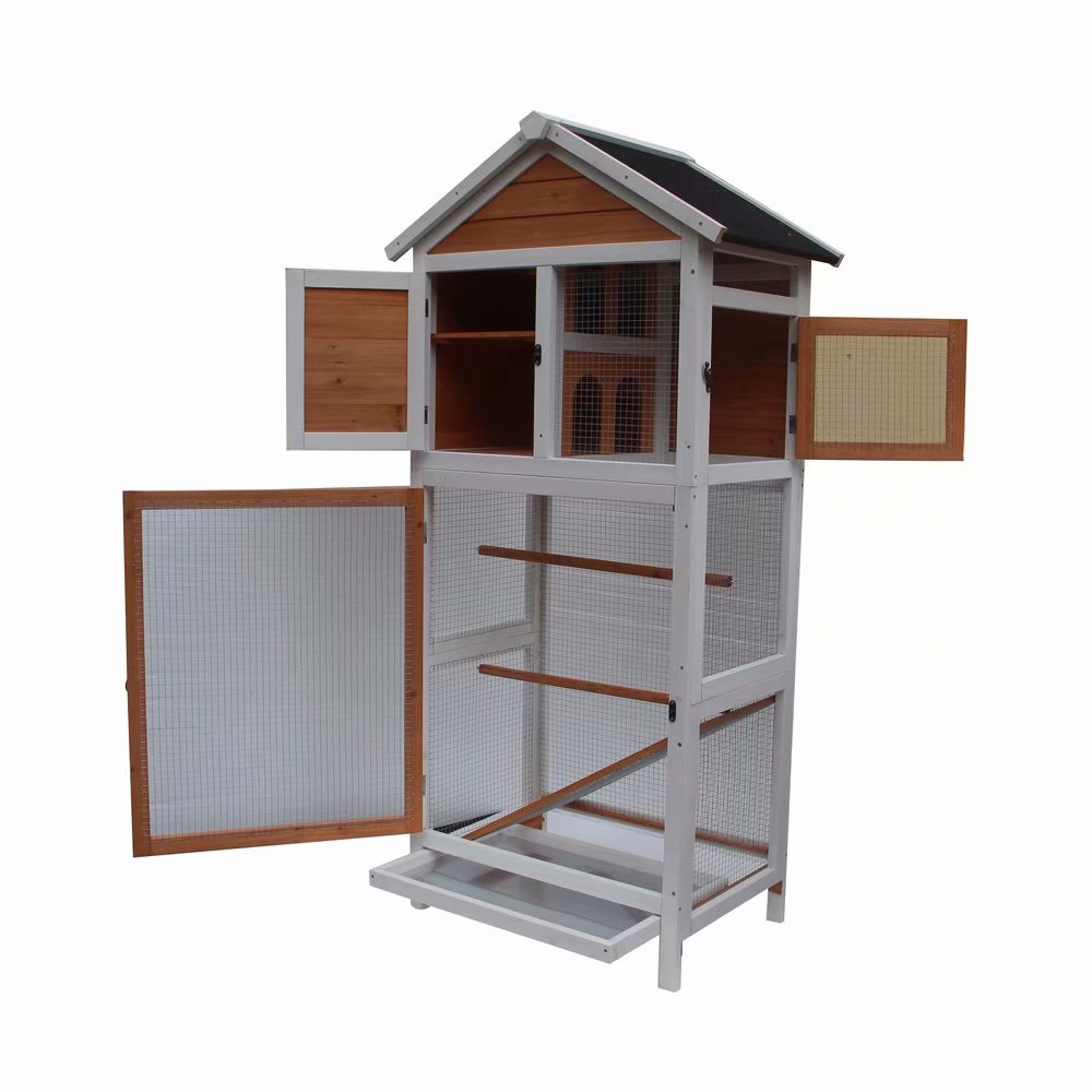 Bird Cage Wooden Cockatiel Parakeet Canary Finch Conure Play House Pet Supply White & Dark Brown