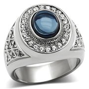 Stainless Steel Mens Dark Sapphire Blue Cabochon Ring-Sizes 8-13 Father's Day