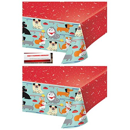 2 Pack - Puppy Dog Birthday Party Plastic Table Cover 54 x 102 Inches (Plus Party Planning Checklist by Mikes Super Store) (Puppy Dog Party Supplies)