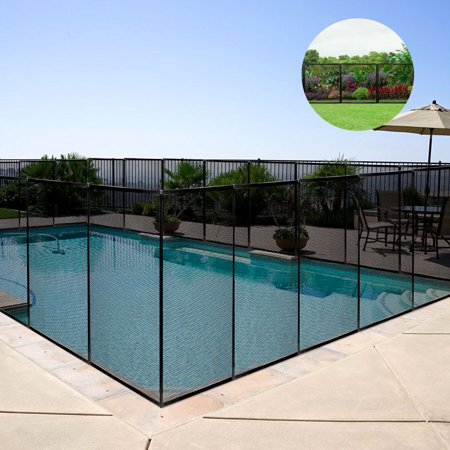 Costway 4'x12' In-Ground Swimming Pool Safety Fence Section Prevent Accidental Drowning](Black Picket Fences)