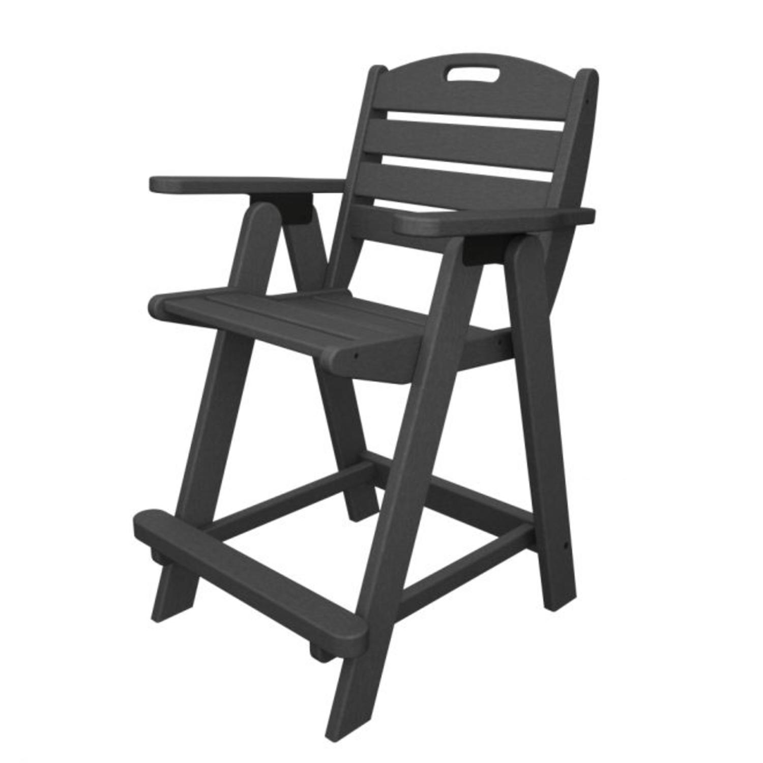 Recycled Earth-Friendly Cape Cod Outdoor Patio Counter Chair - Slate Grey