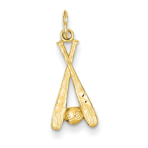 14k Yellow Gold Baseball Bats & Ball Pendant