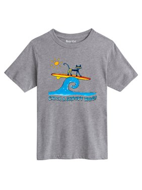 pete the cat catch a groovy wave - youth short sleeve tee