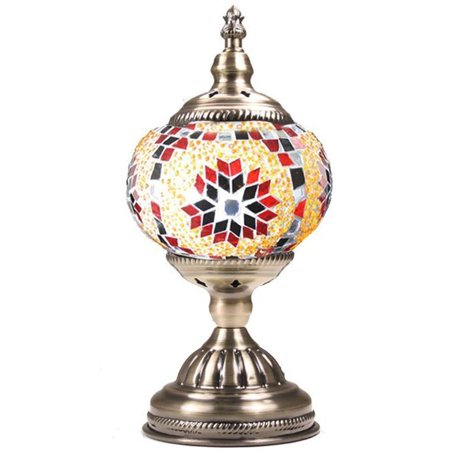 Silver Fever Handcrafted Mosaic Turkish Lamp -Moroccan Glass - Table Desk Bedside Light- Bronze Base (Red Yellow - Starburst Reds