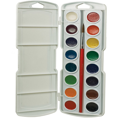 Prang Watercolor Paint Cakes, Assorted Colors, 16/pkg