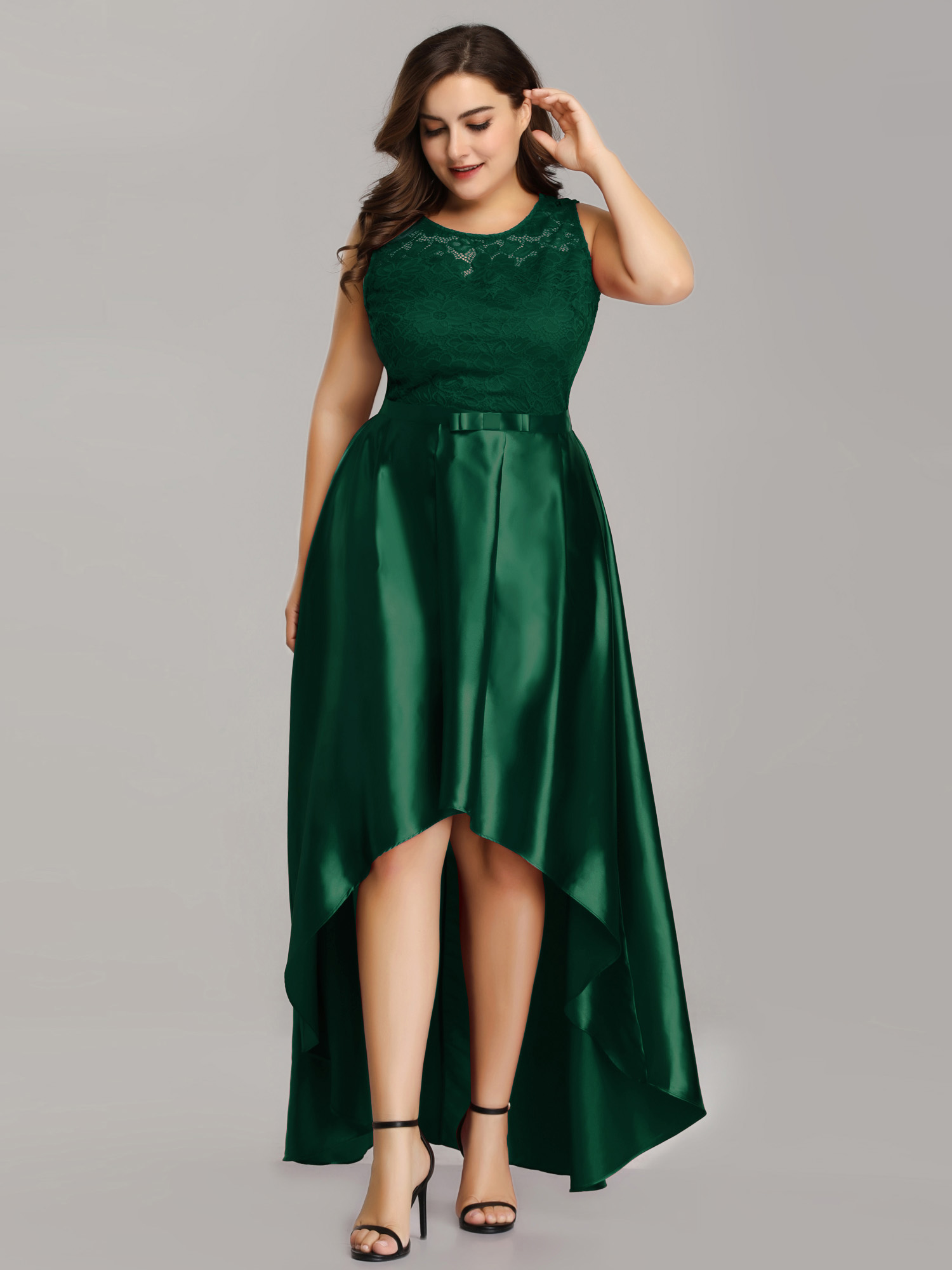Ever-Pretty Women\'s Sleeveless Satin Plus Size High Low Party Wedding Guest  Evening Party Dresses for Women 07702 US 26