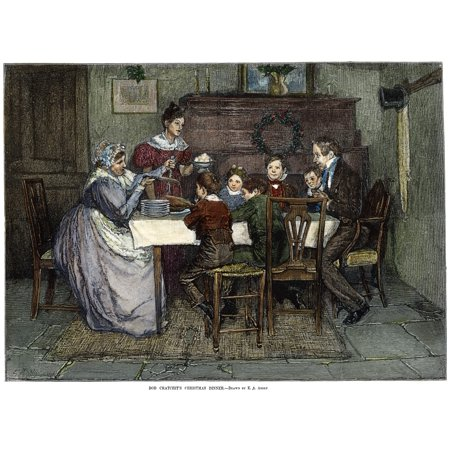 Dickens Christmas Carol 1843 Bob CratchitS Christmas Dinner Engraving After Edwin Austin Abbey For Charles Dickens A Christmas Carol C1880 Poster Print by Granger Collection ()