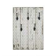 "27.5"" New Romance Distressed Finish White and Gray Decorative Wall Mounted Coat Rack with Hooks"