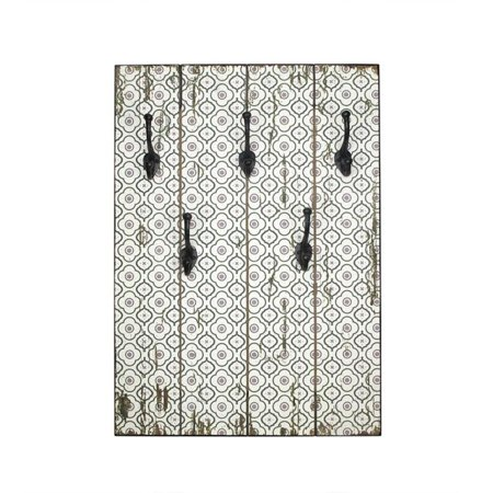27 5 new romance distressed finish white and gray decorative wall mounted coat rack with hooks. Black Bedroom Furniture Sets. Home Design Ideas