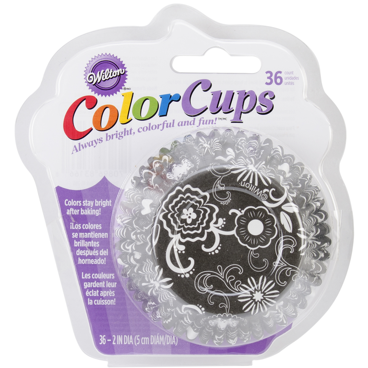 Wilton ColorCup Standard Baking Cup Liner, Black & White Floral 36 ct. 415-2166