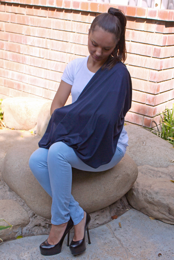 LK Baby Infinity Nursing Scarf Cover Up for Breastfeeding Privacy in Navy Blue