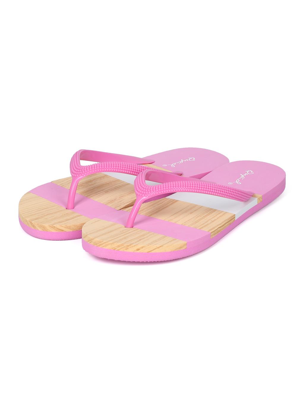 5a46e9e798be Alrisqd - Women PFC Faux Wood Striped Thong Sandal HH46 - Walmart.com