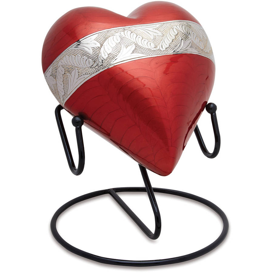 Urnsdirect2U Milano Red Adult Heart Cremation Urn, 170 Cu In