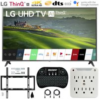 LG 75UM6970 75-inch HDR 4K UHD Smart IPS LED TV (2019) Bundle with Deco Mount Flat Wall Mount Kit, Deco Gear Wireless Backlit Keyboard and 6-Outlet Surge Adapter with Night Light