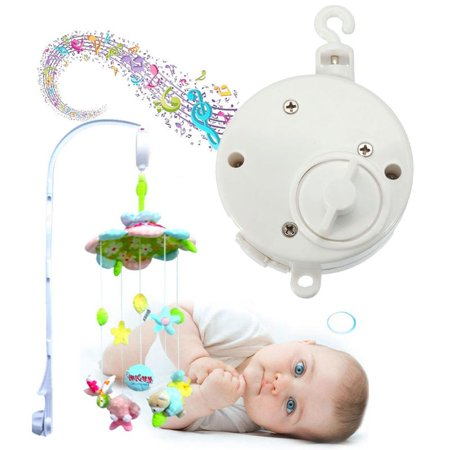 Baby Crib Bell Musical Mobile Plays Tunes Wind-up Music Box+ Baby Crib Mobile Bed Bell Holder Arm Bracket 26