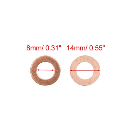 80 Pcs 8mm Inner Diameter Copper Washers Flat Sealing Gasket Rings for Car - image 1 of 2