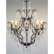 1-Light Crystal Chandelier in Black