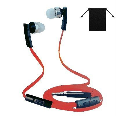 3.5mm Stereo Handsfree Headset Earbuds Earphones Headphones w/ Microphone for Walmart Kindle Fire HDX 8.9 ( Red/ Black ) and w/ Volume Control + Carry Bag +.., By MyNetDeals,USA