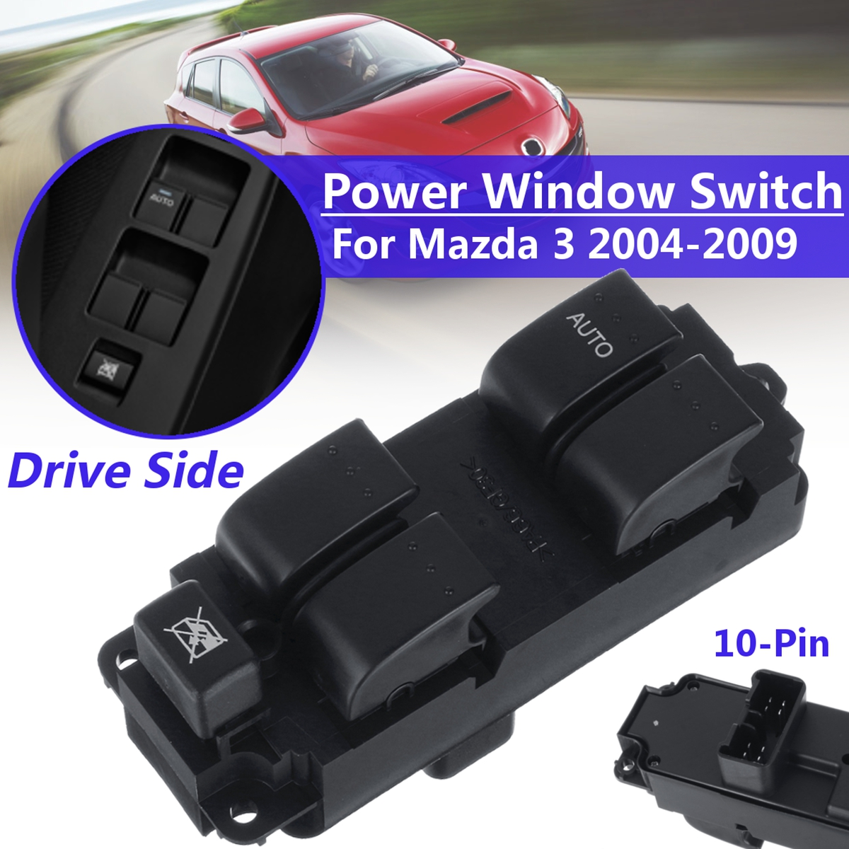 Electric Power Window Switch Drive Side Front Left ABS For Mazda 3 2004-2009 US #BN8F-66-350A