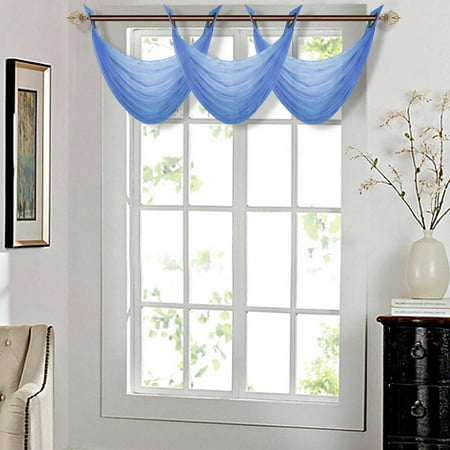 K36 Royal Blue 1 Pc Solid Voile Sheer Waterfall Valance Window Treatment With 2 Grommets