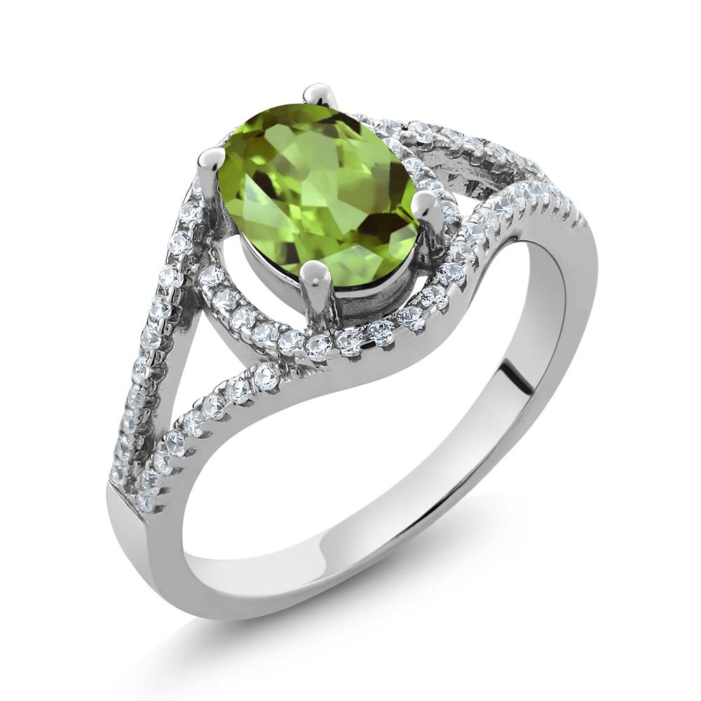 Gem Stone King Sterling Silver Oval Natural Green Peridot...