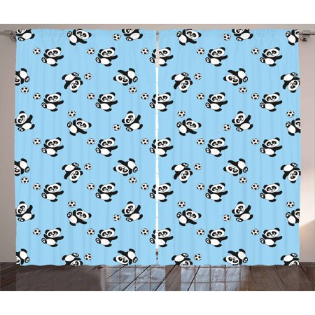 Soccer Curtains 2 Panels Set, Cute Panda Player Kicking a Ball Kids Boys Design Fun Animal Pattern, Window Drapes for Living Room Bedroom, 108W X 90L Inches, Pale Blue Black White, by Ambesonne