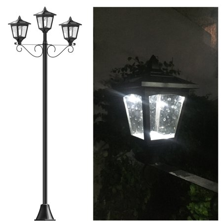 Upgrade 72 Triple Head Street Vintage Outdoor Garden Solar Lamp Post Light Lawn