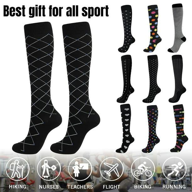 Details about  /6 Pair Women Graduated Compression Running Hiking Bike Travel Socks Black S//M