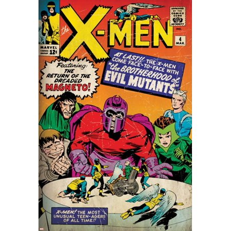 Marvel Comics Retro: The X-Men Comic Book Cover No.4, Scarlet Witch, Quicksilver, Toad(aged) Print Wall Art