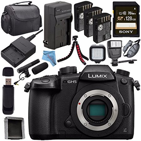 Panasonic Lumix DC-GH5 DC-GH5KBODY Mirrorless Micro Four Thirds Digital Camera + DMW-BLF19 Battery + Charger + Sony 128GB SDXC Card + Carrying Case + Fibercloth + Tripod + Flash