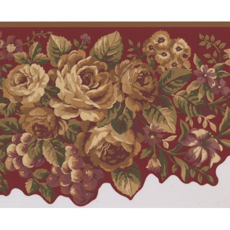Yellow Violet Flowers Peony Daisies Grapes Wine Red Wallpaper Border