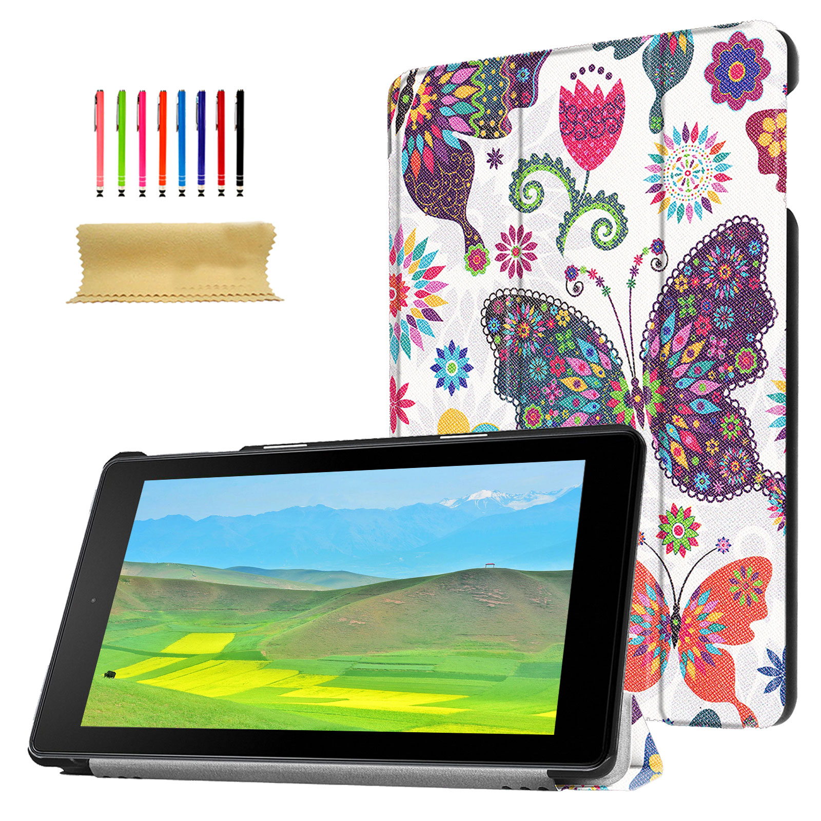 Goodest Kindle Fire HD 8 2017 2018 Case, Tri-fold Stand Case for All-New Amazon Fire HD 8 Tablet, Slim PU Leather Case Folding Stand Case Cover for Fire HD 8 with Auto Wake/ Sleep, Colorful Butterfly
