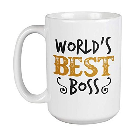 World's Best Boss Novelty Appreciation Coffee & Tea Gift Mug, Drinking Cup, Merchandise, And Office Supplies For Bosses Like Manager, Supervisor, Administrator, Chief, Team Leader & Employer
