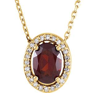 "14K Yellow Mozambique Garnet & .05 CTW Diamond 16"" Necklace by"