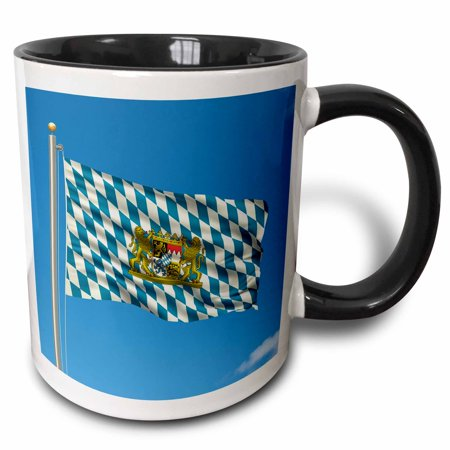 3dRose Flag of Bavaria on a flag pole with blue sky Bavarian, Two Tone Black Mug, 11oz (Hero Ski Poles)
