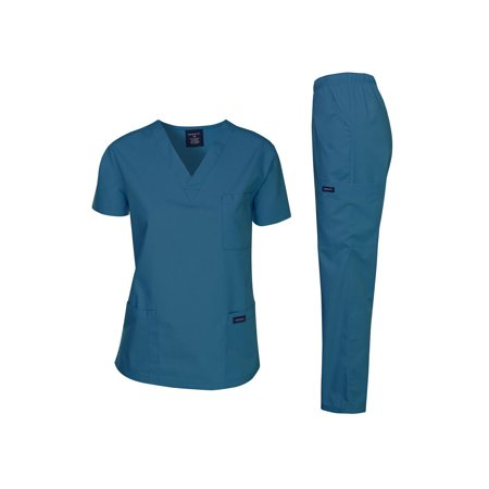 Dagacci Unisex Medical Uniform Scrub Set - Red Nurse Outfit