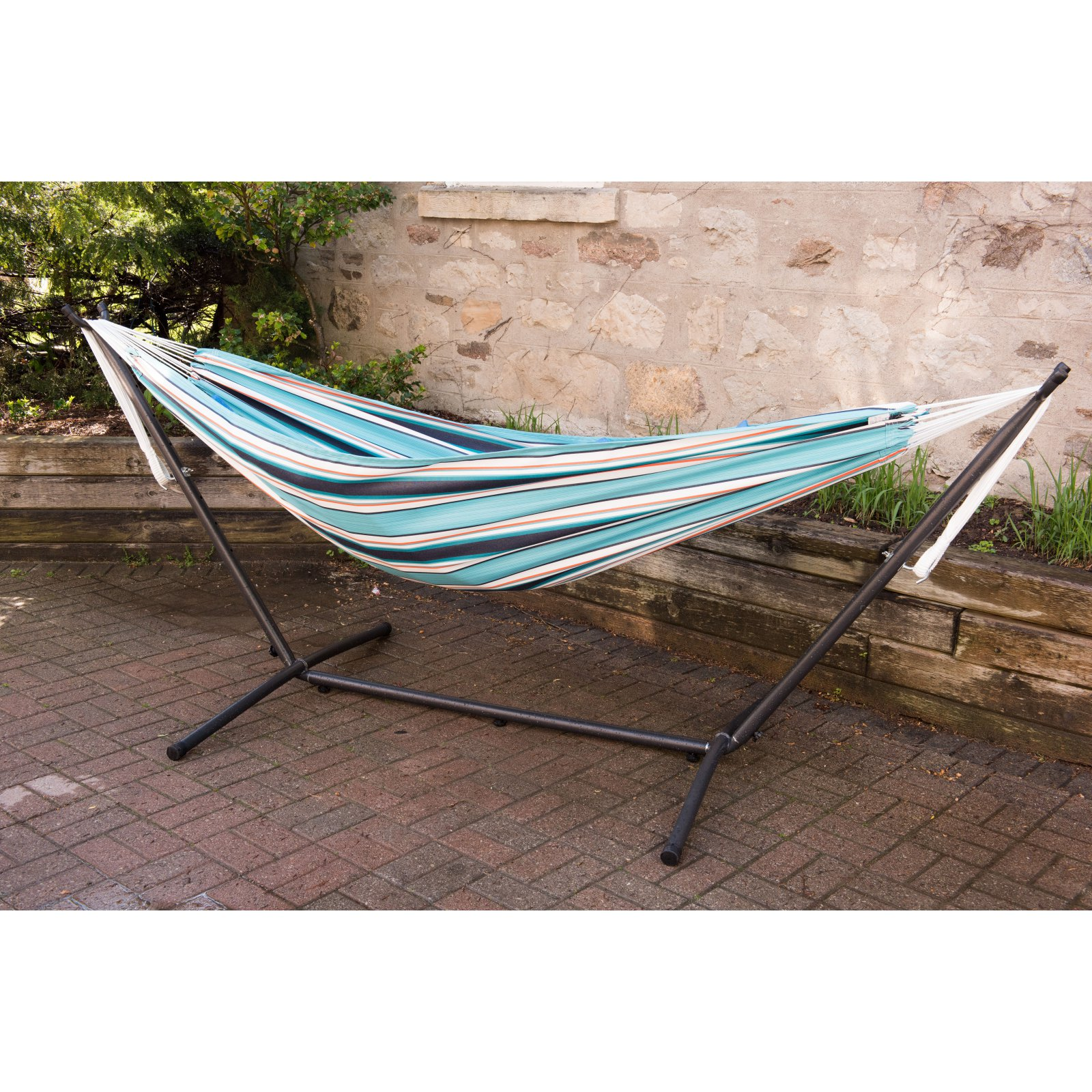 Vivere Sunbrella Token Surfside Hammock with Steel Stand