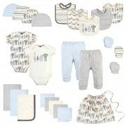 Hudson Baby Infant Boy Layette Start Set Baby Shower Gift 25pc, Royal Safari, 0-6 Months