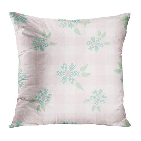 ECCOT Blue Checkered Shabby Chic Floral Pattern in for Green Cute Delicate Flat Flower Leaf Pillowcase Pillow Cover Cushion Case 20x20 inch ()