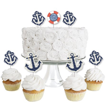 Ahoy - Nautical - Dessert Cupcake Toppers - Baby Shower or Birthday Party Clear Treat Picks - Set of 24