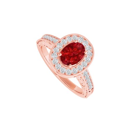 Ruby and CZ Halo Engagement Ring in 14K Rose Gold - image 2 of 2