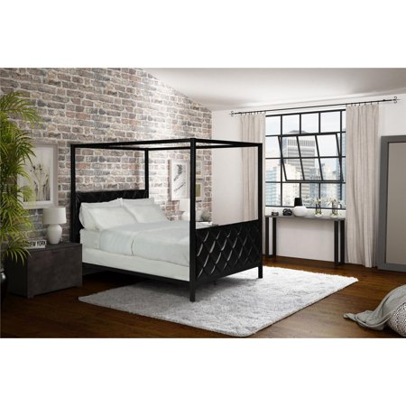 Ash Modern Bed - Alford Premium Modern Metal and Upholstered Canopy Bed, Queen