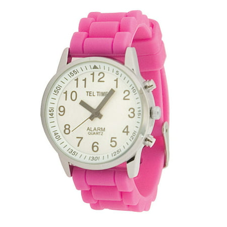 Face Rubber Band - Ladies Touch Talking Watch - Large Face - Pink Rubber Band - Spanish