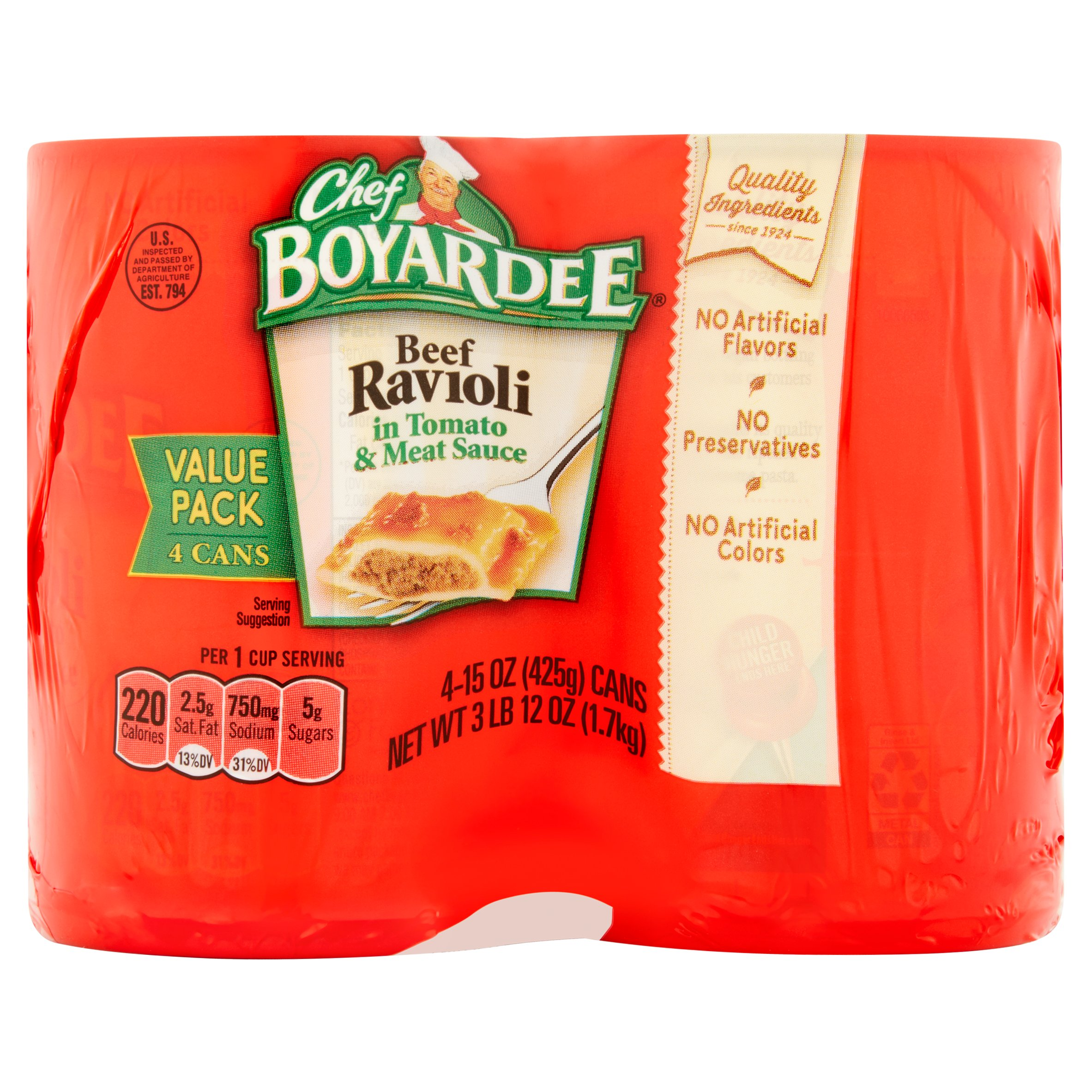 Chef Boyardee In Tomato & Meat Sauce 15 Oz Beef Ravioli, 4 Ct by Conagra Foods