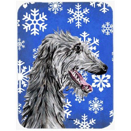 Caroline's Treasures Snowflakes Scottish Deerhound Glass Cutting Board