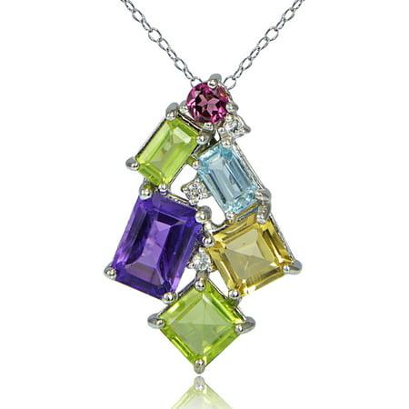 (Glitzy Rocks  Sterling Silver Muli Color Gemstones Octagon Cluster Necklace)