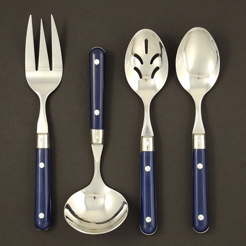 Ginkgo LePrix Stainless Navy Handle Flatware Hostess Set - Set of 4