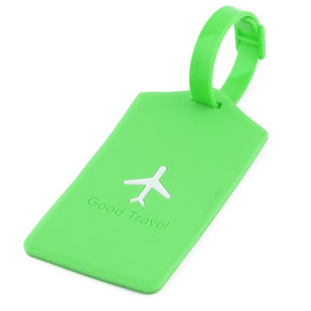 Unique Bargains Silicone Rectangle Travel Bag Label Luggage Tag Name Address Card Holder Green ()