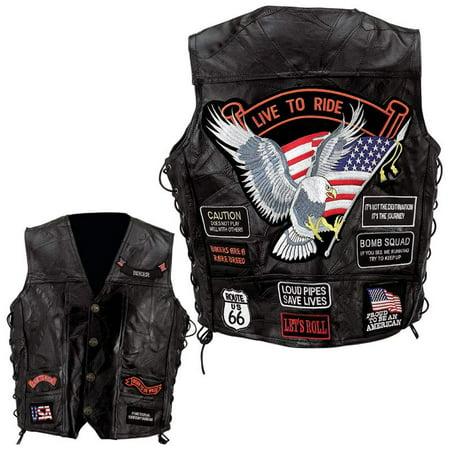 Diamond Plate™ Rock Design Genuine Buffalo Leather Vest - 4x - GFVBIK144X